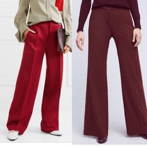 Maroon Wide Leg Trousers Wine Burgundy Trousers